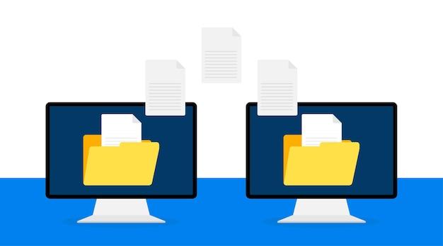 Illustration de plat moderne avec transfert de fichiers sur blanc