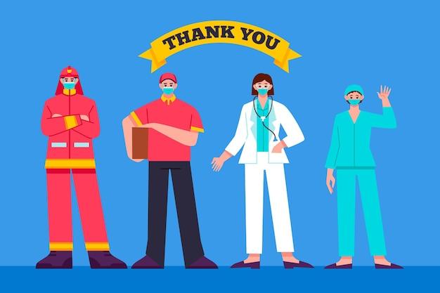 Illustration plat organique merci les travailleurs essentiels