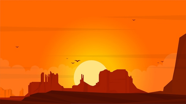 Illustration de plat paysage coucher de soleil