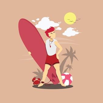 Illustration de plat d'un personnage de surfeur