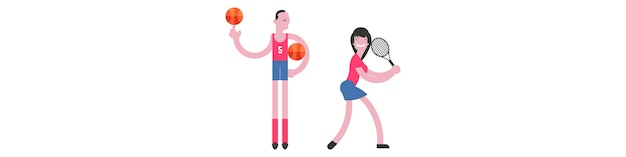 Illustration plat personnages sportifs