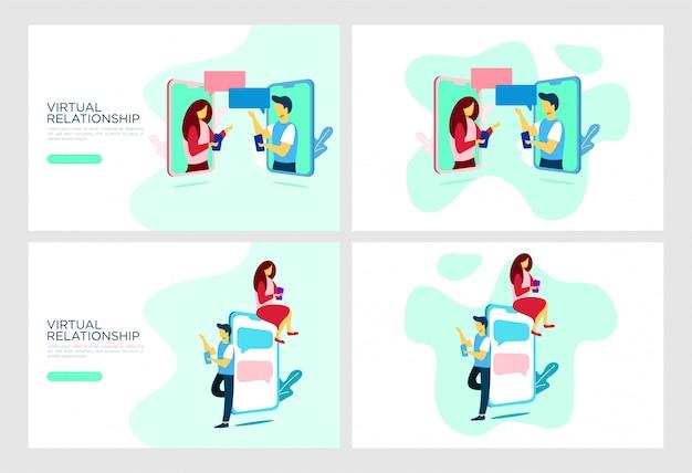 Illustration plat de relation mobile