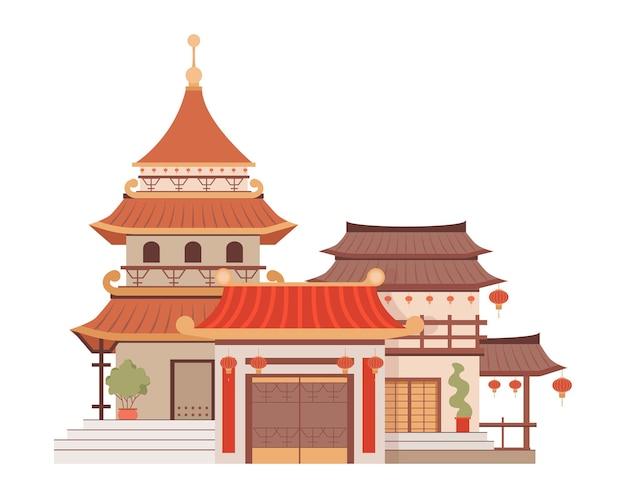 Illustration de plat de vecteur d'architecture chinoise traditionnelle isolée sur blanc belle