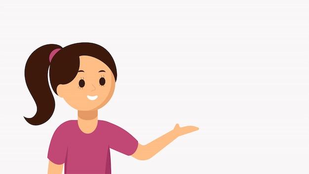 Illustration de plat vectorielle de fille présentant, conseillant, pointant quelque chose