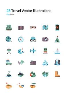 Illustration Plat De Voyage Vecteur Premium