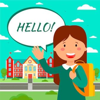Illustration plate affiche de l'éducation scolaire