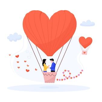 Illustration plate de ballon d'air de coeur de vol d'amour