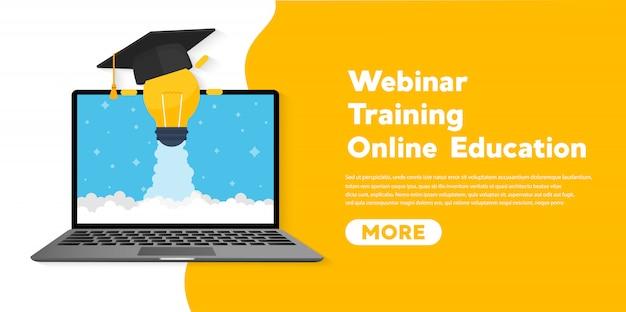 Illustration plate de bannière de concept d'éducation en ligne