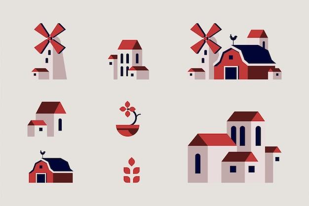 Illustration plate de bâtiment de fermier