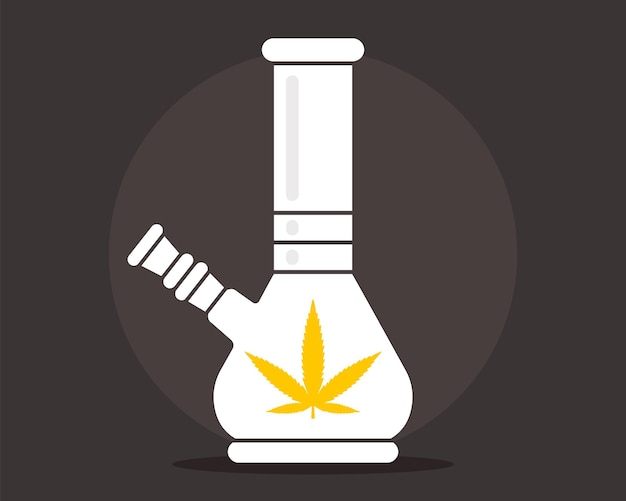 Illustration plate de bong. emblème de la marijuana. illustration vectorielle