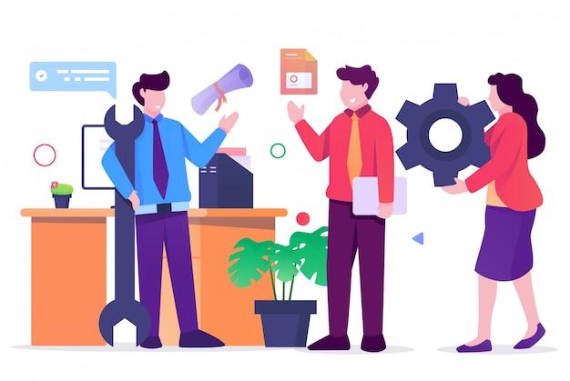 Illustration plate de bureau de travail d'équipe