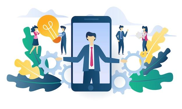 Illustration plate de business concept recherche