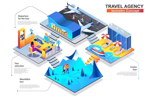 Illustration plate de concept isométrique agence de voyage