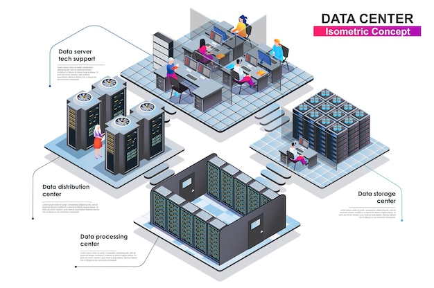 Illustration plate de concept isométrique de centre de données terior