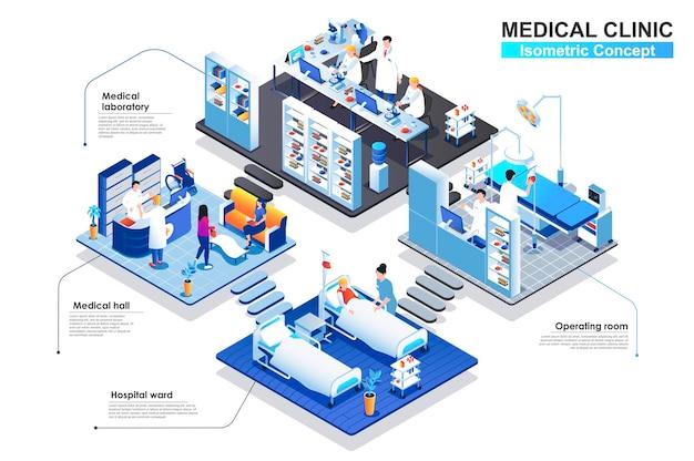 Illustration plate de concept isométrique médical clic terior en