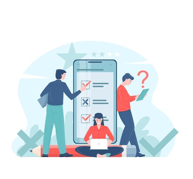 Illustration plate de concept de vote ou d'enquête en ligne avec des électeurs prenant des décisions