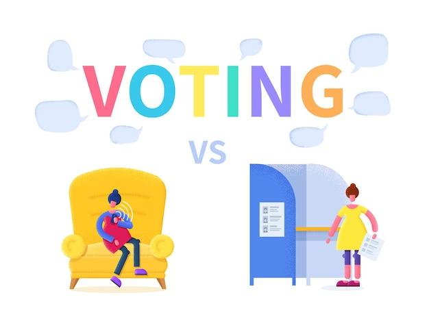 Illustration plate de concept de vote: en ligne ou au bureau de vote