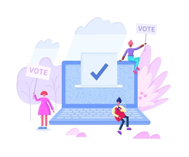 Illustration plate de concept de vote en ligne avec écran d'ordinateur