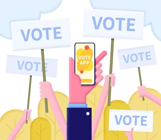 Illustration plate de concept de vote en ligne avec les mains des électeurs