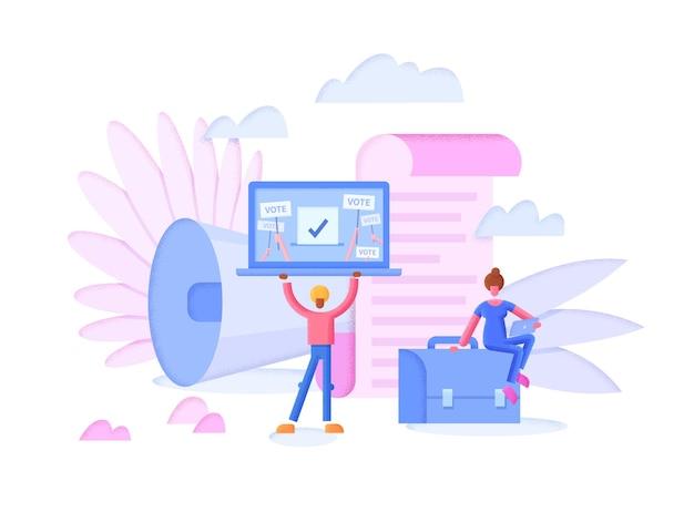 Illustration plate de concept de vote en ligne avec ordinateur portable et électeurs
