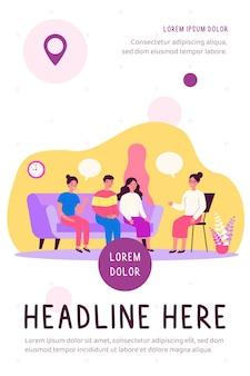 Illustration plate de conversation de thérapie de groupe