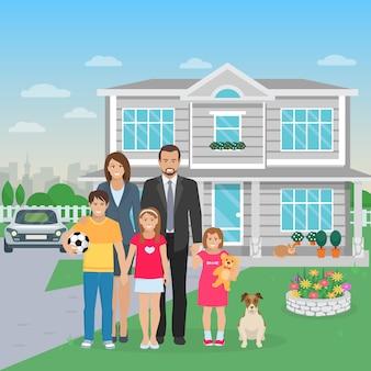 Illustration plate de couleur grande famille heureuse avec chien dans la cour