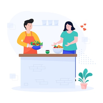 Illustration plate d'un couple cuisinant ensemble