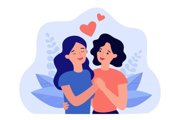 Illustration plate de couple de jeunes femmes amoureux