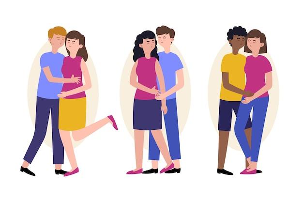 Illustration plate avec des couples qui s'embrassent