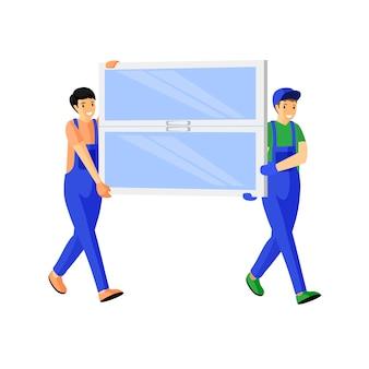 Illustration plate de courriers de magasin de fenêtre. livreurs gais transportant de nouveaux personnages de dessins animés de vitre. les constructeurs en salopette bleue portant la vitre de la fenêtre isolé sur blanc