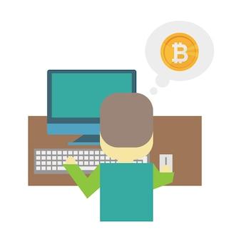 Illustration plate de dessin animé - bitcoin minier. un jeune homme nerd est assis derrière un bureau avec un ordinateur portable. gagner de l'argent sur internet. travail intellectuel