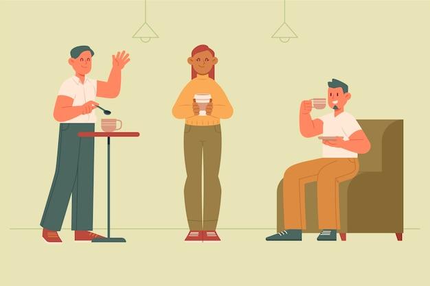 Illustration plate dessinée à la main de personnes avec des boissons chaudes