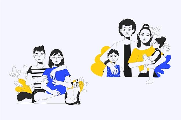 Illustration plate dessinée à la main de scènes familiales