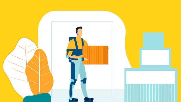Illustration plate d'employé d'entrepôt futuriste