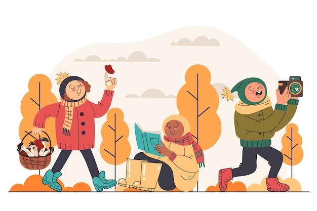 Illustration plate des enfants d'automne jouant dehors