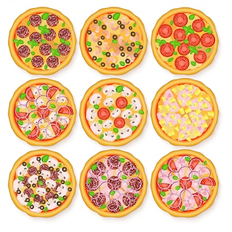 Illustration plate d'ensemble de pizza réaliste