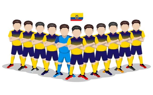 Illustration plate de l'équipe nationale équatorienne de football pour la compétition en amérique du sud