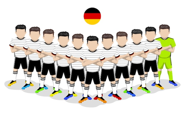 Illustration plate de l'équipe nationale de football d'allemagne pour la compétition européenne