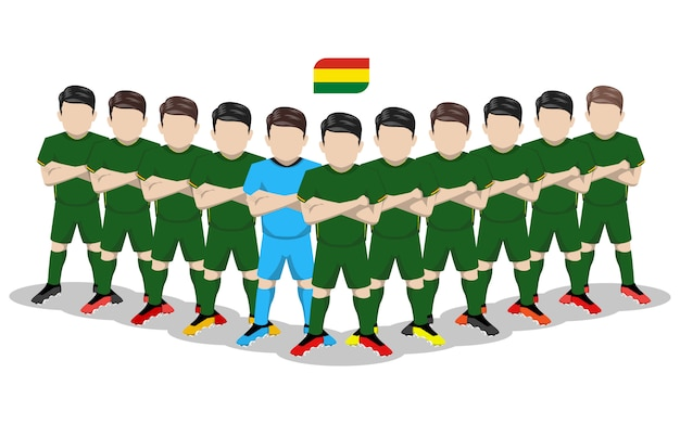 Illustration plate de l'équipe nationale de football de bolivie pour la compétition en amérique du sud