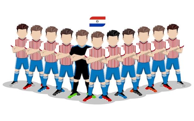 Illustration plate de l'équipe nationale de football du paraguay pour la compétition en amérique du sud