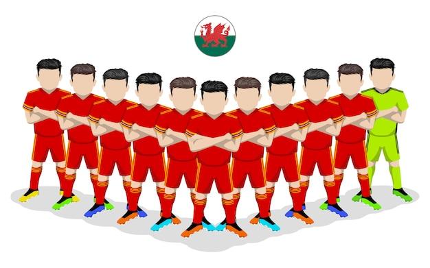 Illustration plate de l'équipe nationale de football du pays de galles pour la compétition européenne