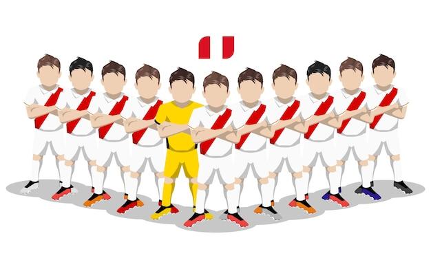 Illustration plate de l'équipe nationale de football du pérou pour la compétition en amérique du sud