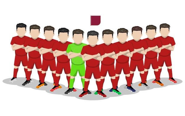Illustration plate de l'équipe nationale de football du qatar pour la compétition en amérique du sud