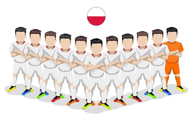 Illustration plate de l'équipe nationale de football de pologne pour la compétition européenne