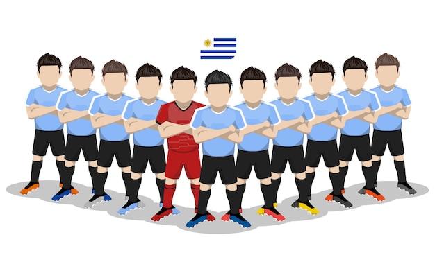 Illustration plate de l'équipe nationale de football d'uruguay pour la compétition en amérique du sud