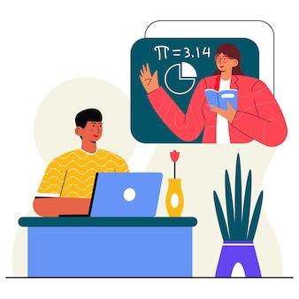 Illustration plate d'étude en ligne