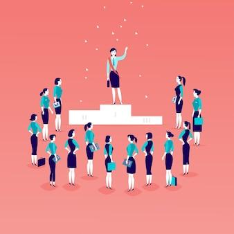 Illustration plate avec une femme d & # 39; affaires prospère debout sur le podium