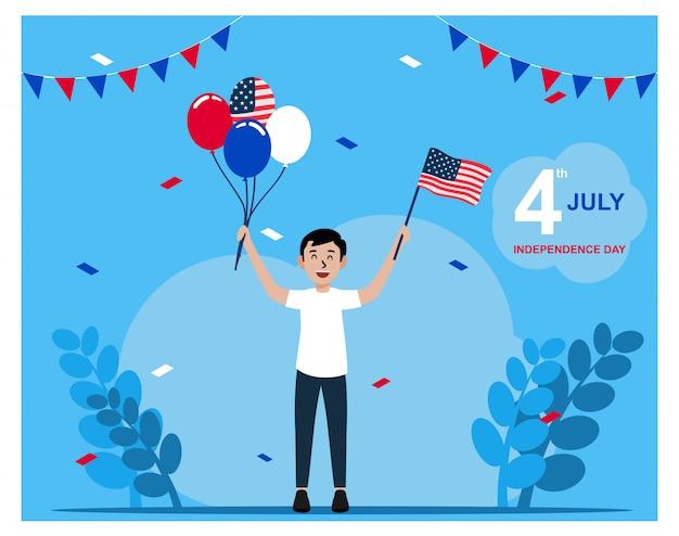 Illustration plate de la fête de l'indépendance des etats-unis