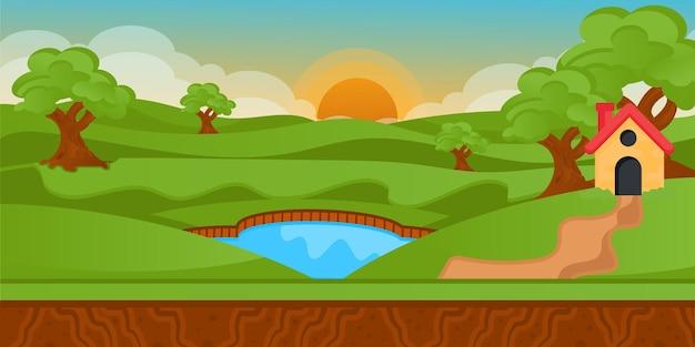 Une illustration plate de fond de paysage naturel