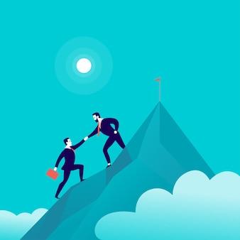 Illustration plate avec des gens d'affaires grimpant ensemble au sommet d'une montagne sur le ciel bleu
